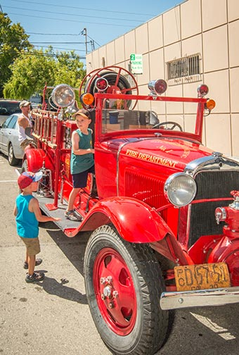 festival fun with old fire truck
