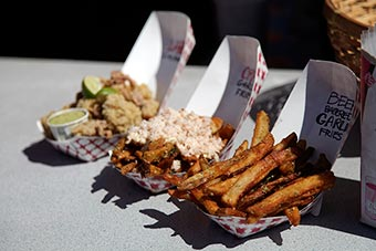 beer battered fries, garlic fries, fried artichokes