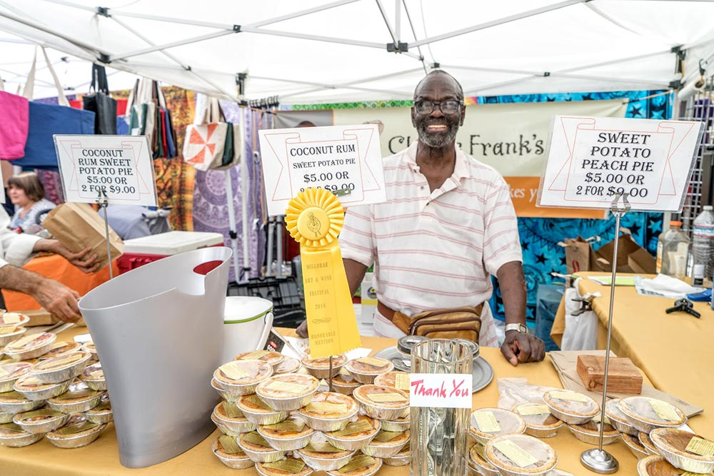Charlie Frank's sweet potato pies are a festival hit
