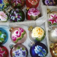 Laura Mitchell handpainted glass ornaments